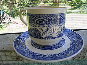 Scio Blue Willow Cup and Saucer