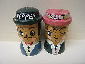 Old Fashioned Couple Salt and Pepper Shakers