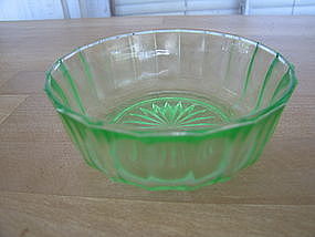 Green Depression Glass Berry Bowl