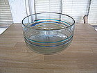 Blown Glass Bowl with Green and Blue Bands