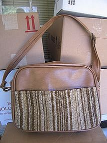 Vintage Vinyl and Burlap Bag
