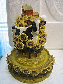 Franklin Mint Cow and Sunflowers