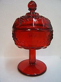 Westmoreland Ruby Paneled Grape Compote