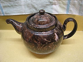 Brown Spongeware Teapot Lid