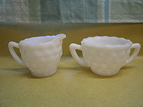Cube Milk Glass Sugar Bowl