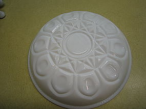 Milk Glass Thumbprint Diamond Dish