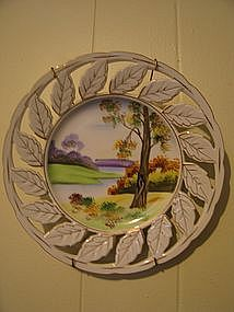 Vintage Hand Painted Milk Glass Plate