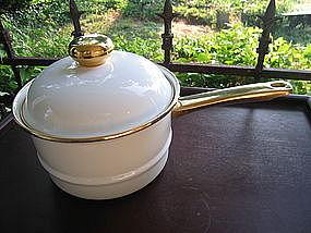 White Enamel Double Boiler