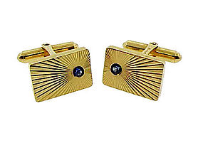 Tiffany & Co. 14K Yellow Gold & Sapphire Cufflinks