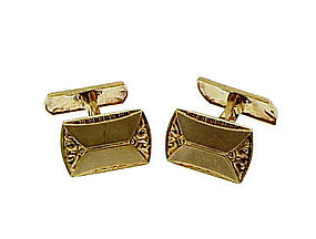Edwardian Double-Faced 14K Yellow Gold Hinged Cufflinks