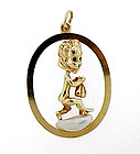 Ruser 14K Gold Sapphire Pearl THURSDAYS CHILD Pendant