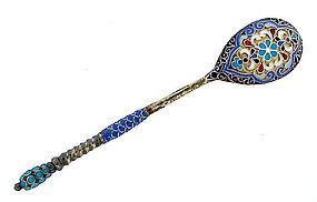 Imperial Russian Klingert Enamel Silver Souvenir Spoon