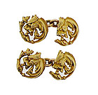 French Art Nouveau 18K Gold Griffin Cufflinks