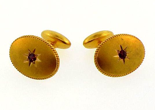 Victorian 14K Yellow Gold & Rhodolite Garnet Cufflinks