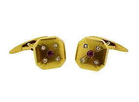 Napoleon III 18K Yellow Gold, Ruby & Diamond Cufflinks