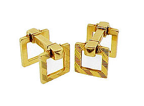 French Art Deco 18K Gold Flip-Up Stirrup Cufflinks