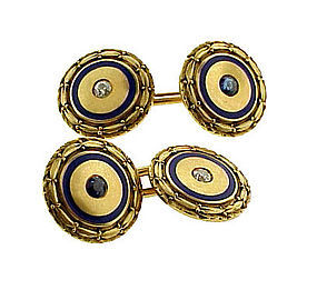 Carrington 14K Diamond Sapphire Enamel Cufflinks