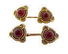Victorian 14K Yellow Gold & Carnelian Double Cufflinks