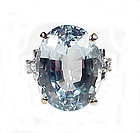 Vintage 14K White Gold, Aquamarine & Diamond Ring