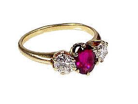 Vintage 14K Gold Ruby & Diamond Three-Stone Ring