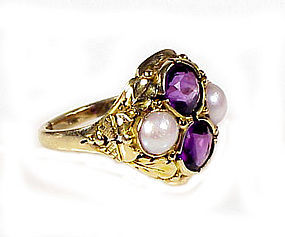 Edward Everett Oakes 14K Gold Amethyst & Pearl Ring
