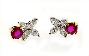 Tiffany Platinum 18K Diamond Ruby VICTORIA Earrings