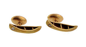 Victorian 10K Gold & Diamond Canoe Cufflinks