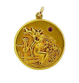 14K Gold & Ruby Art Nouveau Locket