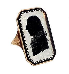 Georgian 15K Gold Verre Eglomise Ring