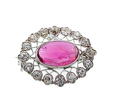Edwardian Platinum Diamond Rubellite Pendant/Brooch