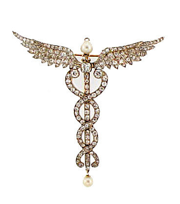 Edwardian Platinum Diamond Pearl Caduceus Pin/Pendant