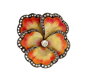 French Art Nouveau 18K Diamond Enamel Pansy Brooch