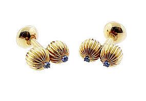 Retro 14K Gold & Sapphire Cufflinks