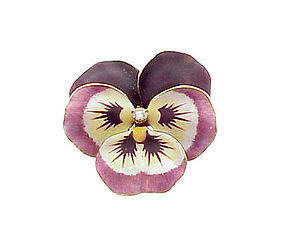 Art Nouveau 14K Gold Enamel Diamond Pansy Brooch