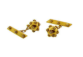 18K Gold Etruscan Revival Style Cufflinks