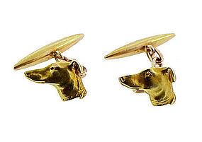 Victorian 18K Gold Greyhound Dog Cufflinks