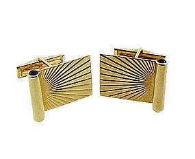 Vintage 14K Yellow Gold & Blue Sapphire Cufflinks