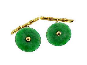 Art Deco 14K Yellow Gold & Jade Cufflinks
