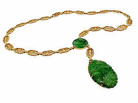 Art Deco 14K Yellow Gold Filigree Jadeite Necklace
