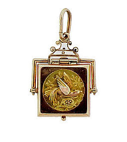 Victorian 14K Multicolor Gold Bird Locket Fob