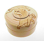 Meiji Carved Elephant & Monkey Ivory Seal Paste Box