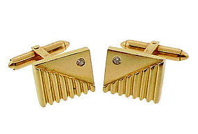 Vintage 14K Yellow Gold & Diamond Cufflinks