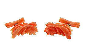 Carved Coral Koi Cufflinks