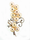 Vintage Mikimoto 14K White Gold Pearl Floral Brooch