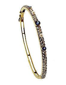 Edwardian 14K Sapphire Pearl Hinged Bangle Bracelet