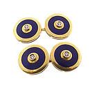 Heavy 18K Gold Enamel & Diamond Double-Sided Cufflinks