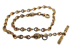 Victorian 14K Yellow Gold & Enamel Watch Chain