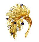 Vintage Tiffany & Co. 18K Diamond Sapphire Leaf Pin