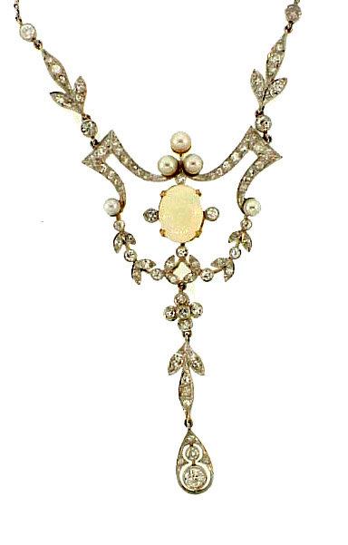 Edwardian Platinum Gold Diamond Opal Pearl Necklace