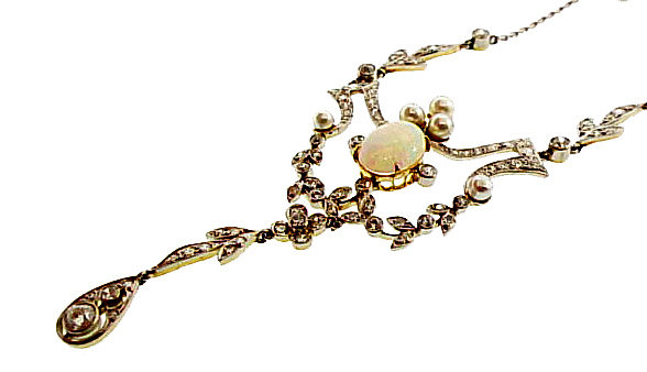 Edwardian Platinum Gold Diamond Opal Pearl Necklace